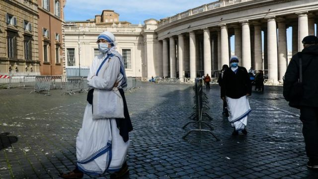 Missionary Sisters of Mother Teresa of Calcutta wore masks as they walked through the Vatican this week