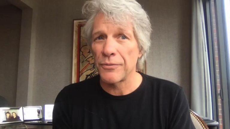 Singer Jon Bon Jovi speaks to Kay Burley