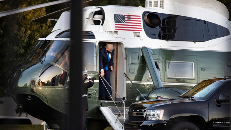 S. President Donald Trump exits Marine One at Walter Reed National Military Medical Center