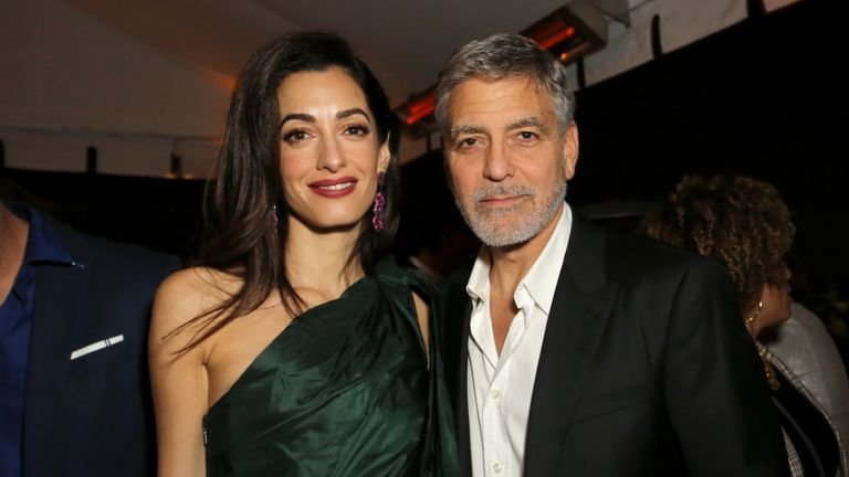 """HOLLYWOOD, CALIFORNIA - MAY 07: (L-R) Amal Clooney and George Clooney attends the premiere of Hulu's """"Catch-22"""" on May 07, 2019 in Hollywood, California. (Photo by Rachel Murray/Getty Images for Hulu)"""