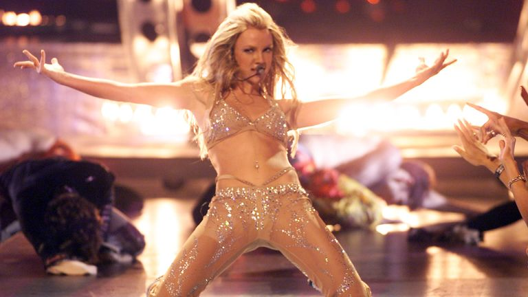 Britney Spears performing on stage at the 2000 MTV Video Music Awards held at Radio City Music Hall on September 7, 2000