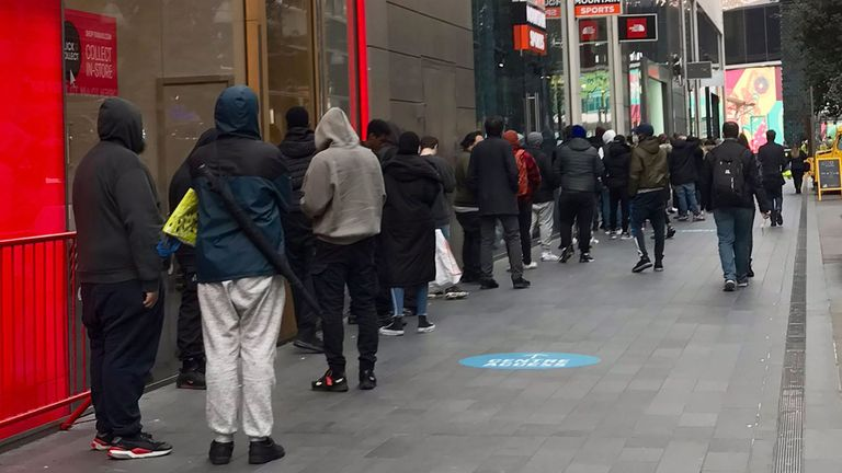 Sony PlayStation 5 Photo courtesy of @AussieHarj's Twitter feed of people queuing for the new Sony PS5 outside of GAME in Westfield, Stratford.