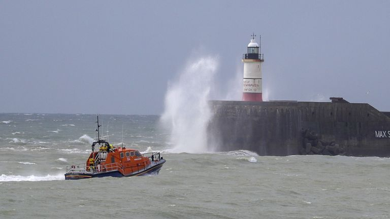 A RNLI lifeboat searches for the two missing fishermen
