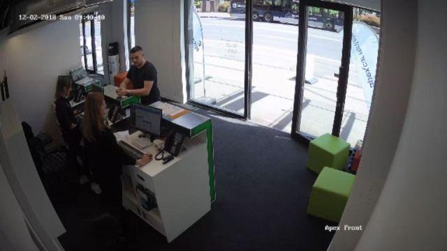 Kempson is seen hiring a car