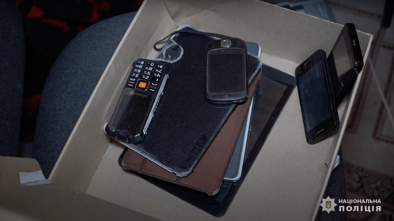 Phones were seized by the criminals & # 39; Properties. Image: National Police of Ukraine