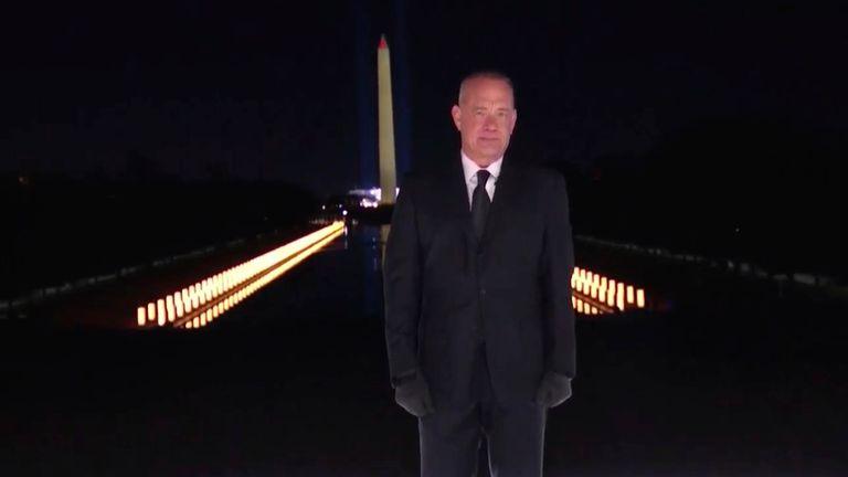 Tom Hanks hosted the TV show welcoming Joe Biden's presidency Pic: AP