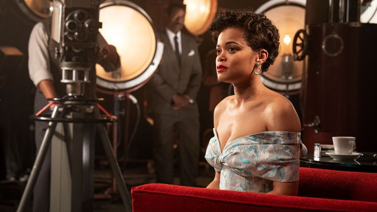 Andra Day as Billie Holiday in the United States against Billie Holiday.  Pic: Paramount Pictures Corporation / Sky UK