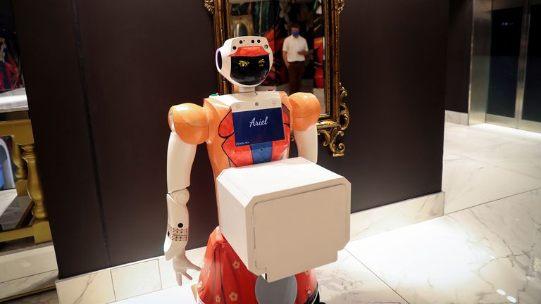 If the hotel welcomes a guest with COVID-19 symptoms, the robots can be used in place of people as a precaution.