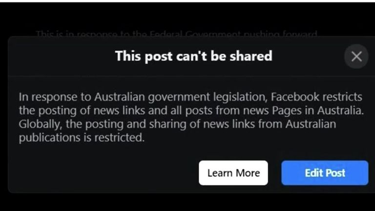 A still image from a Reuters video showing the message Australian Facebook users get when they try to share news