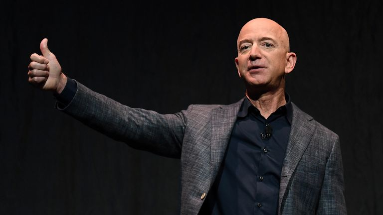 Founder, Chairman, CEO and President of Amazon Jeff Bezos speaks during an event about Blue Origin's space exploration plans in Washington, the United States, on May 9, 2019. thumbs up