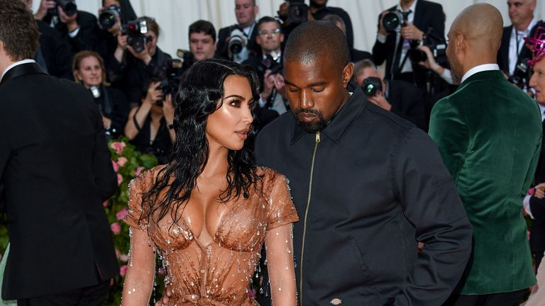 """Kim Kardashian West, left, and Kanye West attend The Metropolitan Museum of Art's Costume Institute benefit gala celebrating the opening of the """"Camp: Notes on Fashion"""" exhibition on Monday, May 6, 2019, in New York. (Photo by Evan Agostini/Invision/AP)"""