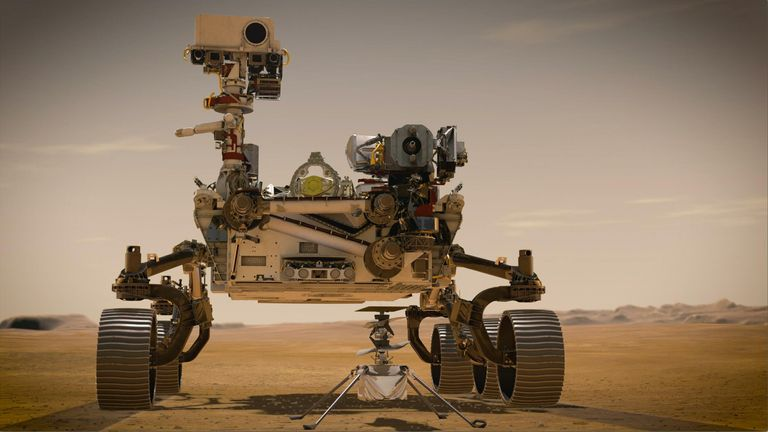 PIA23962: Portrait of Perseverance and Ingenuity (Artist's Concept) In February 2021, NASA's Mars 2020 Perseverance rover and NASA's Ingenuity Mars Helicopter (shown in an artist's concept) will be the agency's two newest explorers on Mars. Both were named by students as part of an essay contest. Perseverance is the most sophisticated rover NASA has ever sent to Mars. Ingenuity, a technology experiment, will be the first aircraft to attempt controlled flight on another planet. Perseverance will