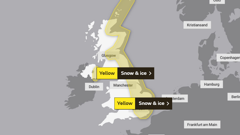 Monday's weather warnings. Pic: Met Office