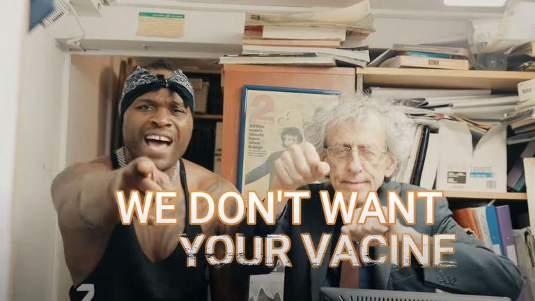 Mr Corbyn appears in an anti-vaccine rap video. Pic: YouTube/Remeece