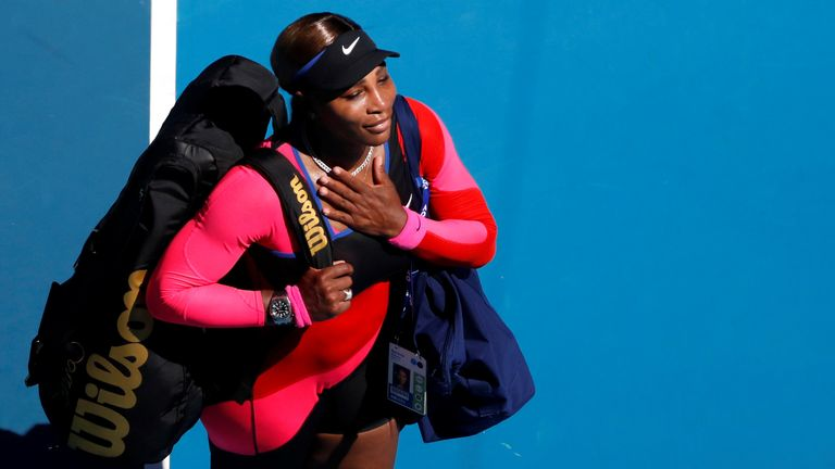 Serena Williams touched her chest as she left the court