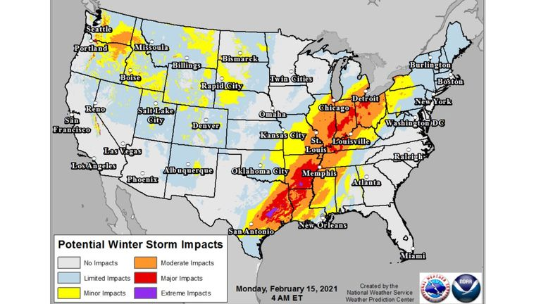 The National Weather Service shows the storm's severity across the United States. Pic: Twitter/@NWS