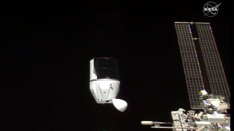 This photo provided by NASA shows the SpaceX dragon detaching from the International Space Station on Tuesday, January 12, 2021. SpaceX Dragon cargo capsule undocked with 12 bottles of Bordeaux wine and hundreds of extracts of Merlot and Cabernet Sauvignon vines.  The capsule targets a dip in the Gulf of Mexico off the coast of Florida on Wednesday evening.  Pic: (NASA via AP)