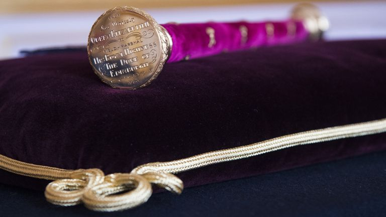 The Duke of Edinburgh's Field Marshal Baton, gifted to him by the Queen in 1953