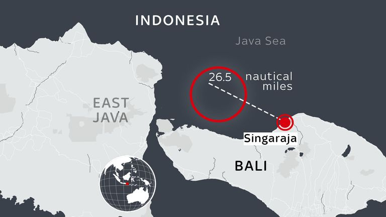 The submarine was last heard from at a location around 26.5 nautical miles northwest of Singaraja, on the northern coast of Bali