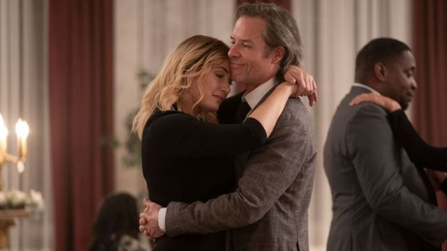 Kate Winslet and Guy Pearce star in Mare Of Easttown. Pic: Sky UK/HBO
