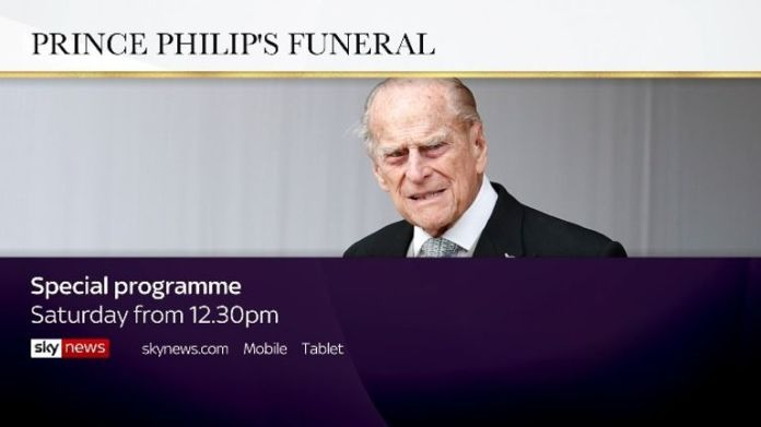 Watch and follow live coverage of Prince Philip's funeral service on Sky News from 12:30 p.m. Saturday.
