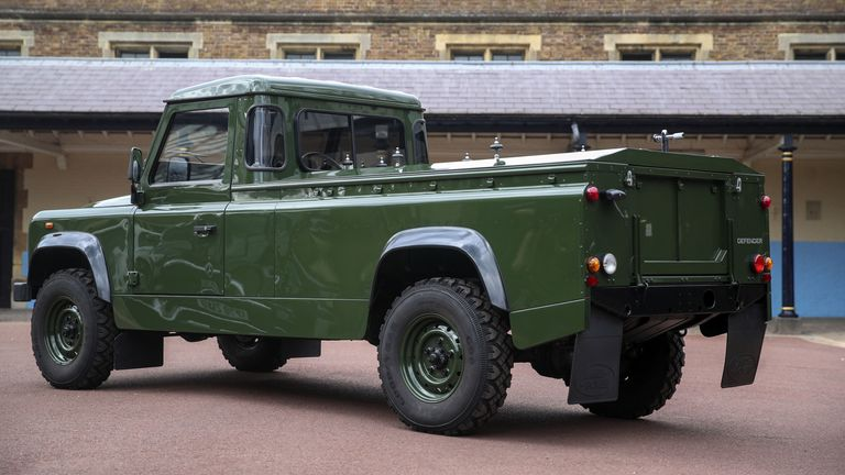 The Jaguar Land Rover that will be used to transport the coffin of the Duke of Edinburgh at his funeral