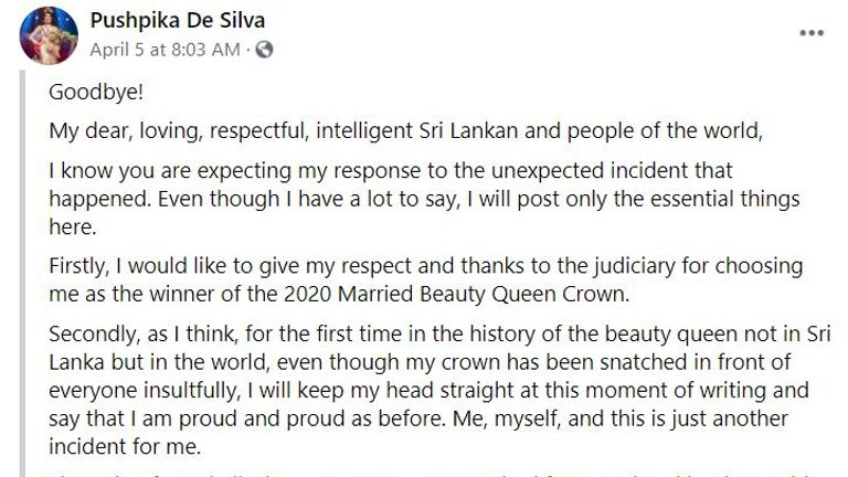 Ms De Silva responded on Facebook with this post which has been translated from Sinhalese.