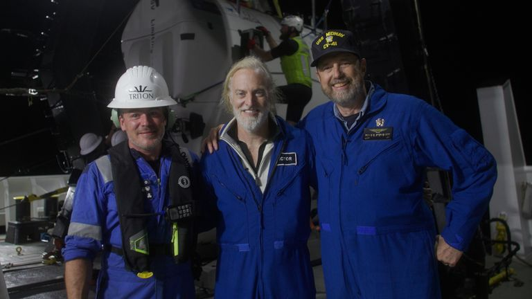 The crew of the submersible who filmed the shipwreck. Image: Nick Verola / Caladan Oceanic