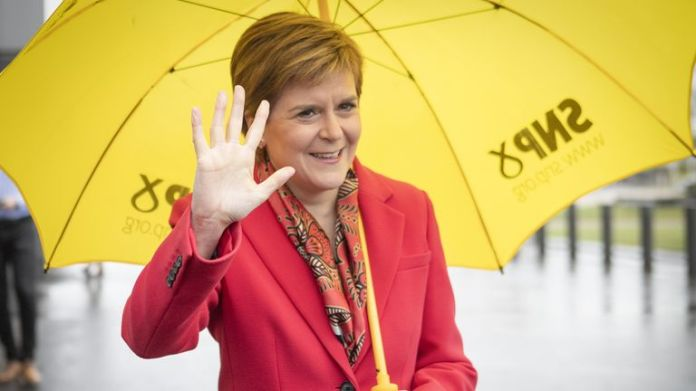 First Minister Nicola Sturgeon and Scottish National Party (SNP) leader outside the Scottish Parliamentary Elections at the Emirates Arena, Glasgow