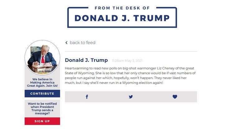 From Donald J Trump's desk