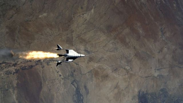 VSS Unity starts its engines after release from its mothership,