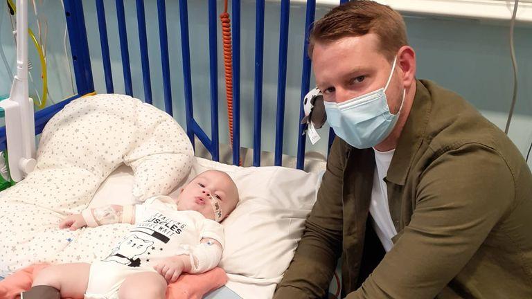 Baby Arthur with his father Reece Morgan