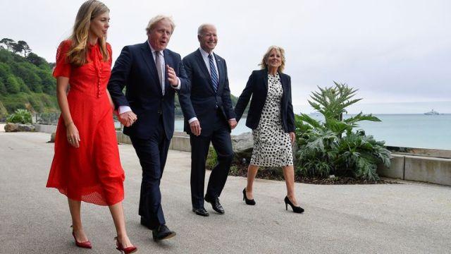 Carrie Johnson, Prime Minister Boris Johnson, US President Joe Biden and first lady Jill Biden walk outside Carbis Bay Hotel