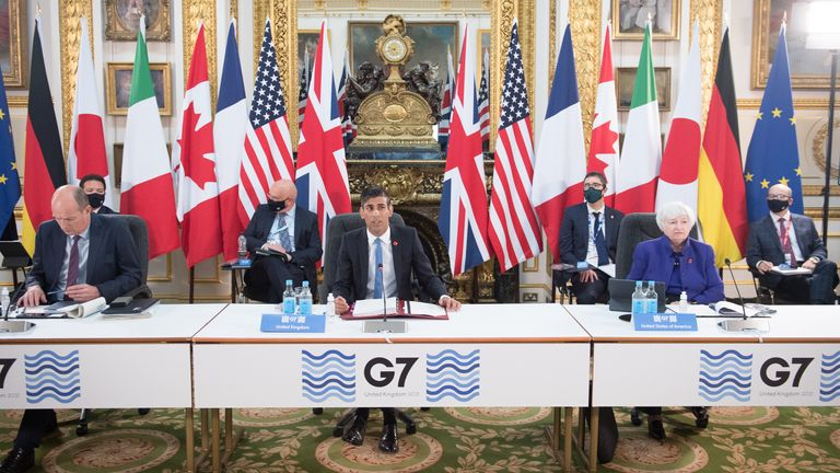 Federal Chancellor Rishi Sunak at a meeting of the finance ministers of the G7 countries
