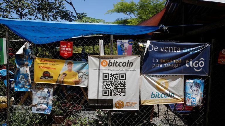 Bitcoin banner outside a restaurant on El Zonte Beach in Chiltiupan, El Salvador