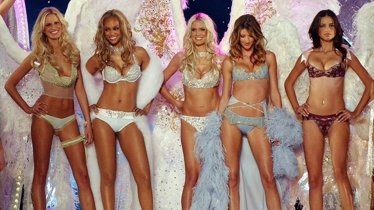 Models Karolina Kurkova, Tyra Banks, Heidi Klum, Gisele Bundchen and Adriana Lima at the Victoria's Secret fashion show in 2003. Pic: AP