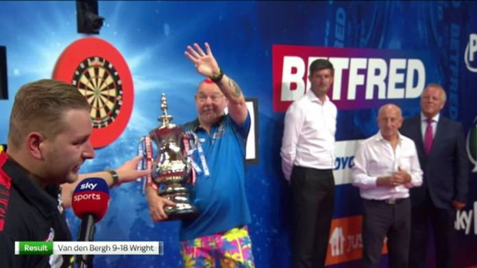 Dimitri Van den Bergh said his heart was in pain from the defeat but congratulated Peter Wright for deservedly winning the World Matchplay Championship.