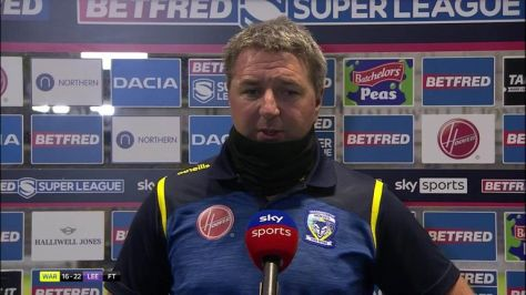 Warrington Wolves coach Steve Price told Jenna Brooks it was a 'hugely disappointing night' after seeing his side lose to Leeds Rhinos