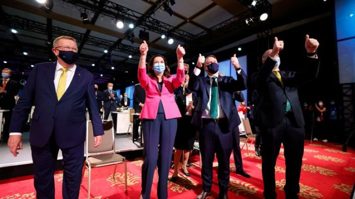 Members of the Brisbane 2032 delegation celebrate after it was awarded the 2032 Olympics. Pic: AP