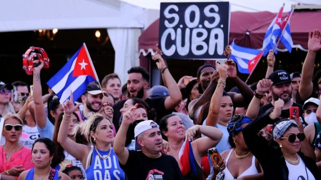 People rally in solidarity with protesters in Cuba, in Little Havana in Miami
