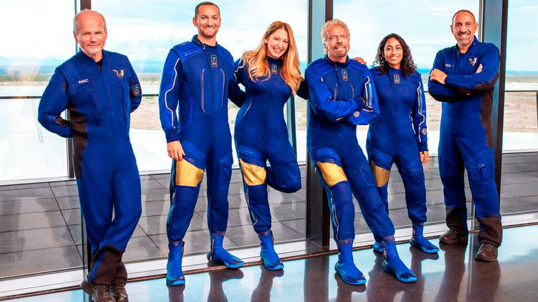Branson and his team of fellow astronauts. Image: AP