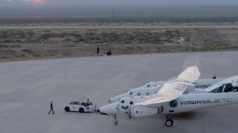 Virgin Galactic VSS Unity passenger rocket plane near Truth and Consequences, New Mexico