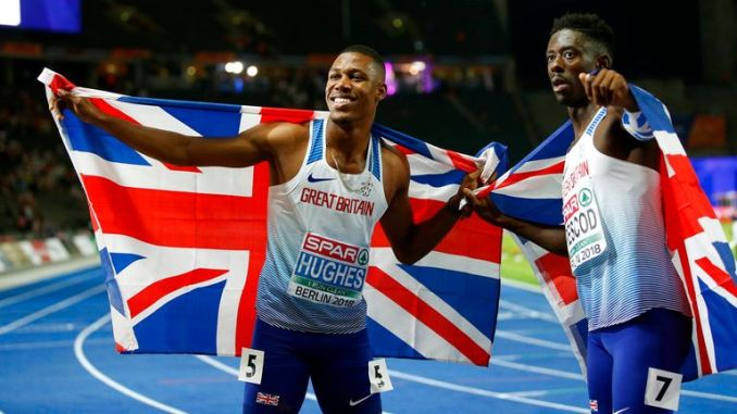 Zharnel Hughes (left) and Reece Prescod are both competing in the 4x100m relay. Pic: AP