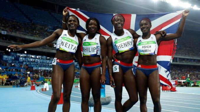 Asher-Smith (right) will also compete in the 4x100 relay. Pic: AP