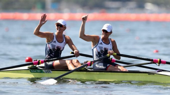 Vicky Thornley (left) and Katherine Grainger at Rio 2016