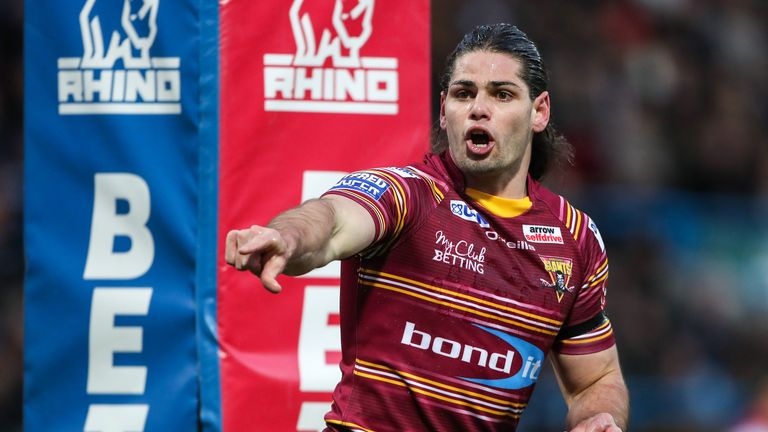 Jake Mamo scores four tries for Huddersfield against Catalans Dragons in 2017.