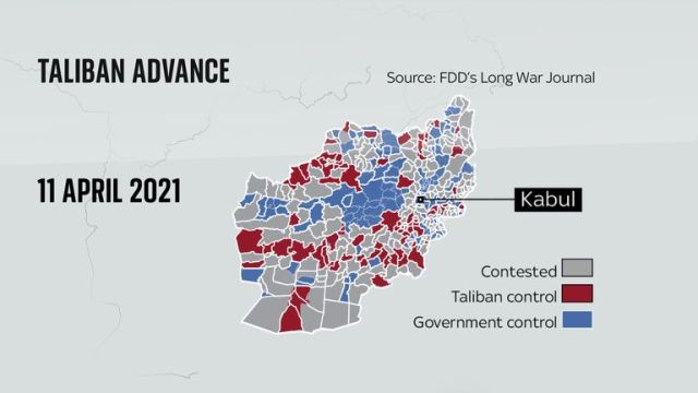 In April the Taliban had limited control in Afghanistan
