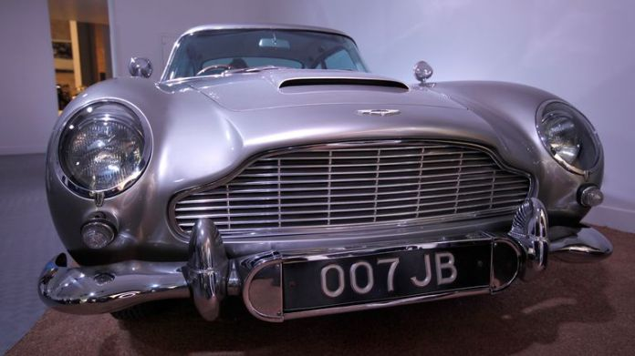 One of four Aston Martin DB5's that were used in the James Bond film Goldfinger (two for filming, two for promotion) is seen at the opening of the Bond in Motion 50 vehicles in 50 years exhibition in 2012. Pic: AP