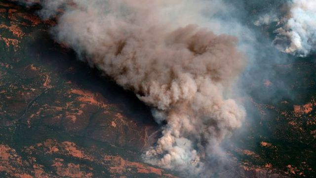 Satellite footage shows the active fire line of the Caldor fire, which is nearing South Lake Tahoe. Pic AP