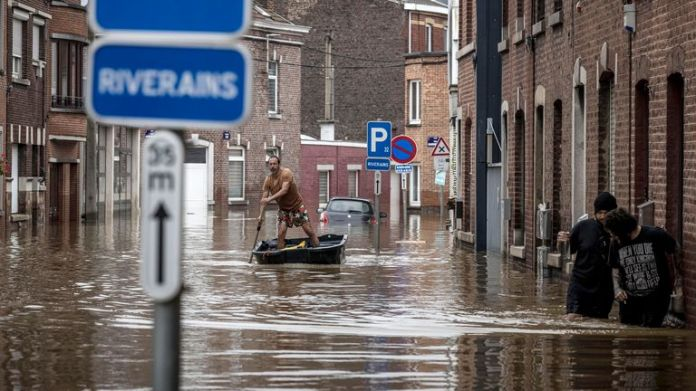 July 2021:  Flooding in Angleur, Province of Liege, Belgium Pic: AP